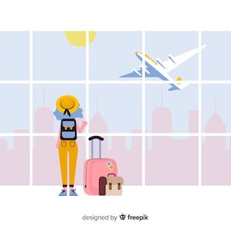 Девушка собирается на фоне поездки