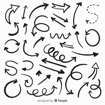 手描きの装飾的な矢印のコレクション