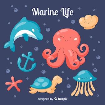 Коллекция рисованной морской жизни персонажей