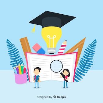 平らなカラフルな大学の概念の背景