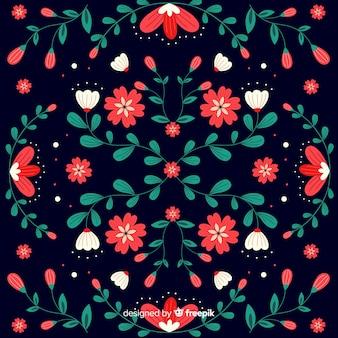 装飾的な刺繍メキシコの花の背景