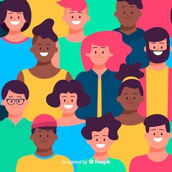 カラフルなフラット若者の人々のパターン