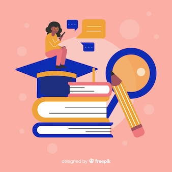 Плоский красочный фон концепции университета