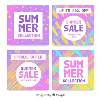 カラフルな夏のセールカードコレクション