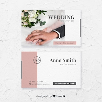 Шаблон визитной карточки для свадебной фотографии