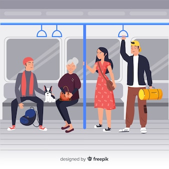 地下鉄の背景を使用している人々