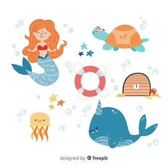 海洋生物キャラクターコレクションフラットデザイン