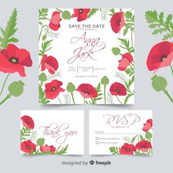 花の結婚式の静止テンプレートコレクション