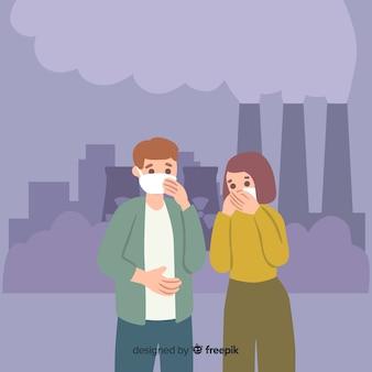 Люди страдают от загрязнения плоском фоне