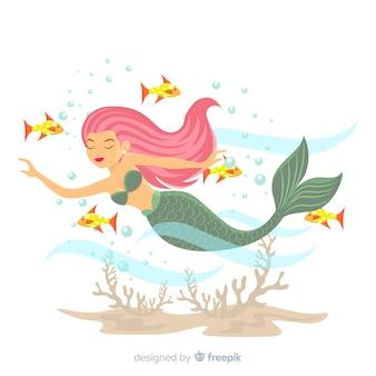 美しい人魚の肖像画フラットデザイン