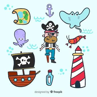 カラフルな海洋生物キャラクターコレクション