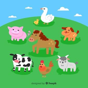フラットかわいい農場の動物コレクション