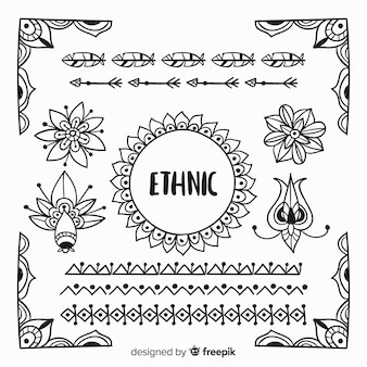 手描きエスニック風要素コレクション