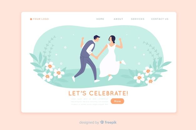 Свадебный лендинг плоский дизайн