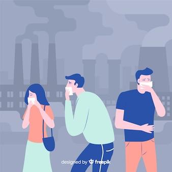 汚染フラット背景に苦しんでいる人々