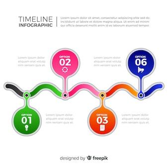 平らなカラフルなタイムラインのインフォグラフィック