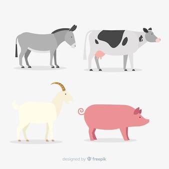Плоская милая коллекция животных фермы