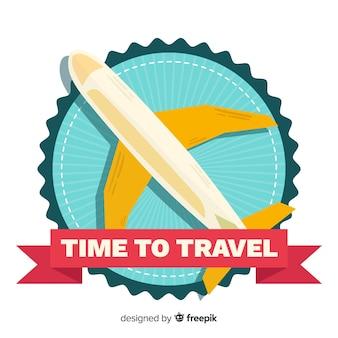 Винтажная туристическая этикетка плоский дизайн