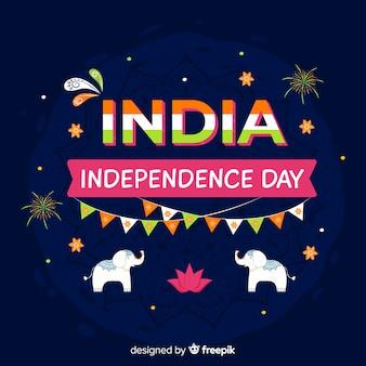 インドの芸術スタイルでインドの独立記念日の背景