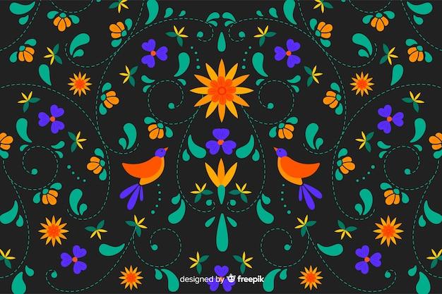 メキシコの伝統的な花刺繍の背景