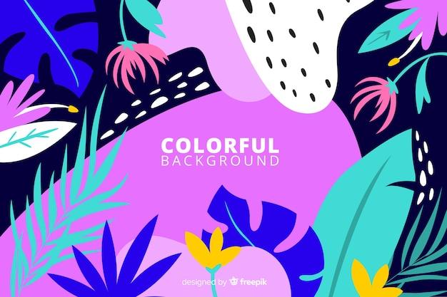 手描きの抽象的な熱帯植物の背景