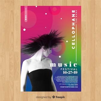 写真とカラフルなグラデーション音楽祭ポスター