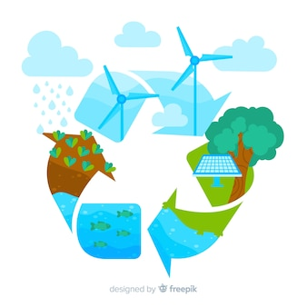 Экология концепции фона плоский дизайн