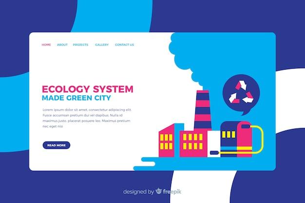 エコロジーランディングページフラットデザイン