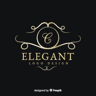 Золотой элегантный логотип плоский дизайн