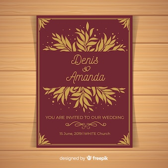 濃い赤の結婚式の招待状のテンプレート