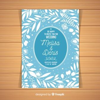 水色の結婚式の招待状のテンプレート