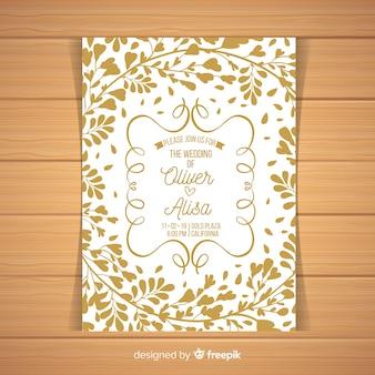 葉シルエット結婚式招待状のテンプレート