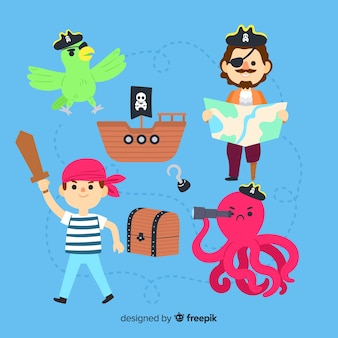 Плоский дизайн коллекции персонажей морской жизни