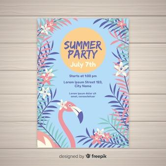 Ручной обращается шаблон летней вечеринки