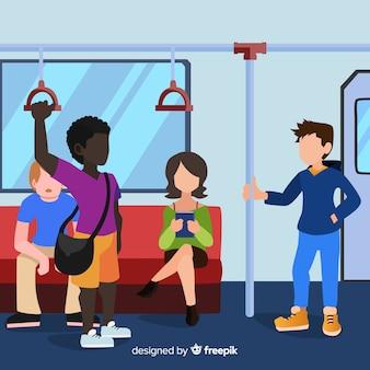 地下鉄フラットデザインに行く人々