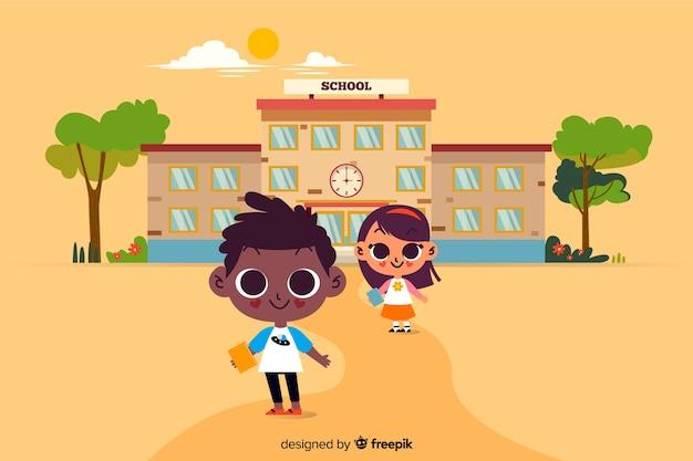 学校の背景にフラットバック