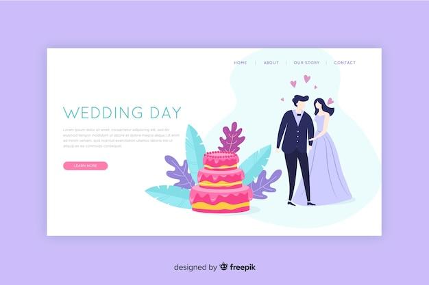 結婚式のランディングページフラットデザイン