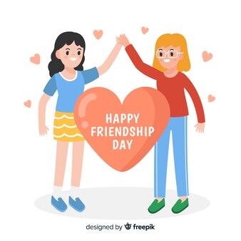 День дружбы фона плоский дизайн