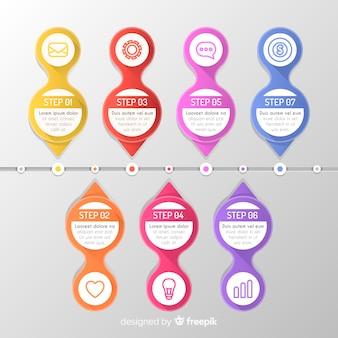 平らなカラフルなインフォグラフィックステップコレクション