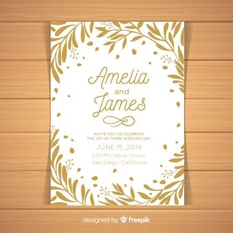 葉フレーム結婚式招待状のテンプレート