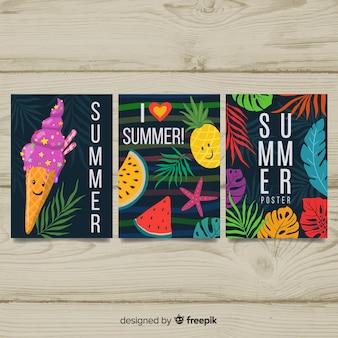 Коллекция рисованной сезонных плакатов