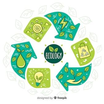 Ручной обращается фон концепции экологии