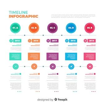 Хронология инфографики шаблон плоский дизайн