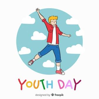 若者と手描きの若者の日の背景