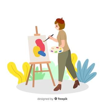 キャンバスに絵の少女