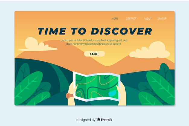 Плоский дизайн целевой страницы путешествия