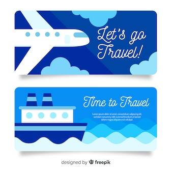 青い旅行バナーフラットデザイン