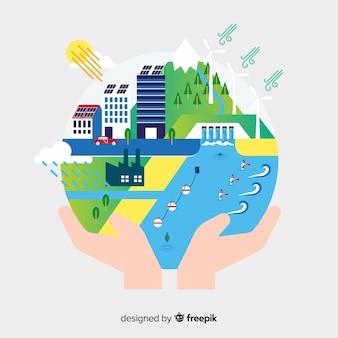 エコロジーコンセプトの背景フラットデザイン