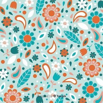 フラットデザインのカラフルな花の背景