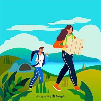 田舎でカップルのハイキング